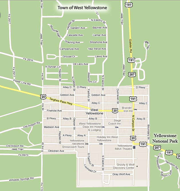West Yellowstone Town Map
