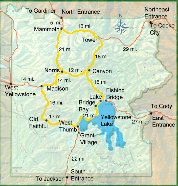 Yellowstone Lodging - Yellowstone National Park Map